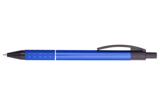 GONZO Alu: Dieser edle Aluminium-Druckkugelschreiber bietet durch die geriffelte Griffzone