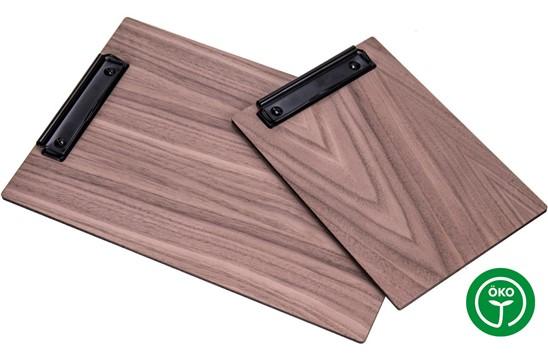 NUT Klemmbrett A4: Klemmbrett/Clipboard aus 5mm Nussbaum 3- Schichtholz AB/AB Qualität. Auch als Sp