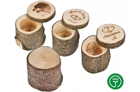 YES Holzbehälter: Aufbewahrungsbehälter rustikal mit Rinde - rund mit Schiebedeckel. Made in Germa