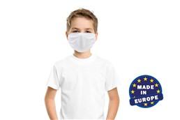 MNS Maske für Kinder in weiss, Made in EU:   Wiederverwendbarer Mund und Nasenschutz für Kinder aus Mikrofaser 220g/m2, 6