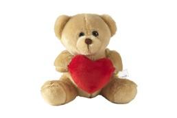 Plüschteddy mit Herz: Plüschbär mit Glasaugen, rotem Herz und Aufhängeschlaufe.
