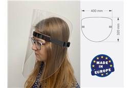 Gesichtsmaske Plexi Typ A, Made in EU: Die Gesichtsmaske Plexi besteht aus klarem PET Material, beidseitig mit Schutzfo