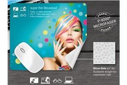 super thin Mousepad 4 in 1, 28 x 16 cm:   Mousepad, Displayreinigung, Brillenputztuch und Displayschutz in einem! Best