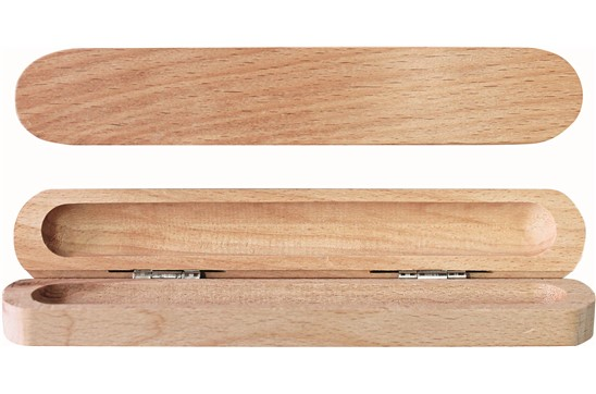 Holzetui: Rustikales Klappetui für 1 Schreibgerät aus Buchenholz