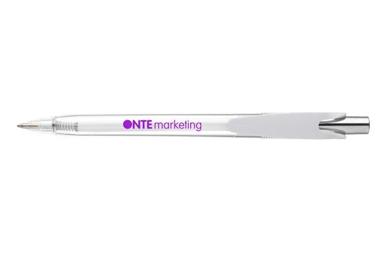Write Kugelschreiber: Kugelschreiber mit auffallendem und modernem Clip, transparentes Gehäuse und Far