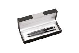 Schreibset Harvard: Edles Hochglanz-Schreibset mit einem blauschreibenden Kugelschreiber mit Dreh-Kl