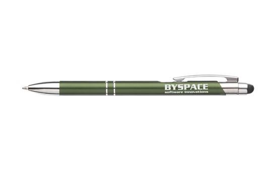 TARAS TOUCH Kugelschreiber:   Blauschreibender Kugelschreiber mit Aluminiumgehäuse, gummierte Spitze zum B