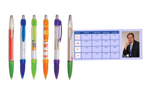 Info-Kugelschreiber I:   Kein Werbeartikel lässt Ihnen im Verhältnis zur Größe so viel Platz für Ihre
