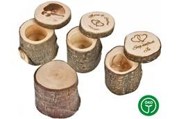 YES Holzbehälter:   Aufbewahrungsbehälter rustikal mit Rinde - rund mit Schiebedeckel. Made in G