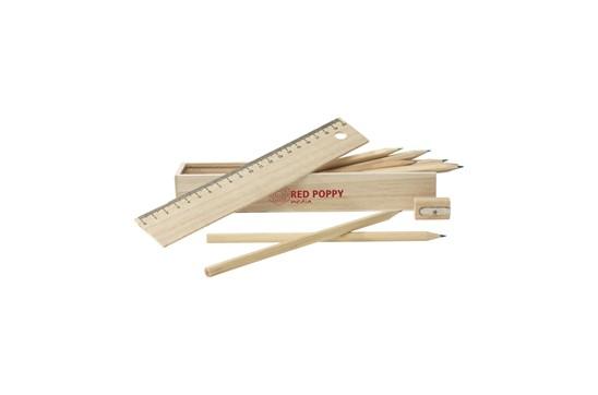 Büro-Holzbox:   Holzbox mit Deckel (ist gleich das Lineal mit 20 cm) mit 12 unlackierten, an