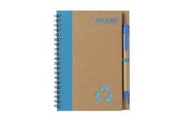 Nachhaltige Werbeartikel Notizbuch L: Umweltfreundliches Notizbuch aus recyceltem Material mit ca. 70 Blatt cremefarbe
