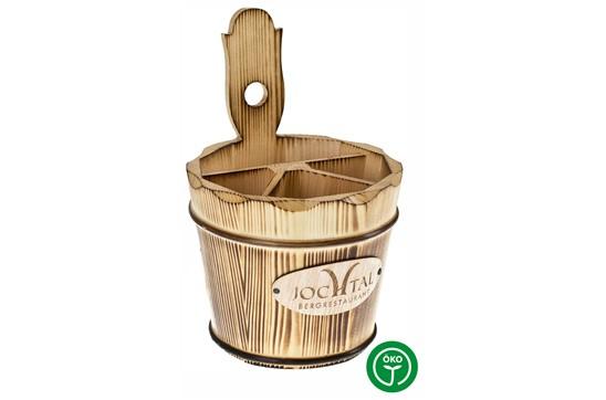 JOCHTAL Besteckhalter geflämmt und lackiert:   Besteckhalter aus massivem Fichtenholz. Reine Handarbeit, mit Weidenreifen f