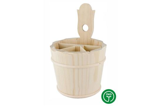 JOCHTAL Besteckhalter roh:   Besteckhalter aus massivem Fichtenholz. Reine Handarbeit, mit Weidenreifen f