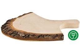 RUSTICA Brett mit Griffrinde, Lackiert:   Rustikales Rinden-Jausenbrettl mit Griff. Beiseitig geschliffenes Erlenholz.