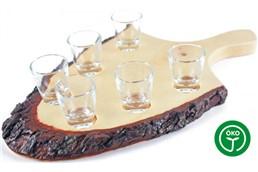 Schnapsbrett mit Griff, für 6 Stamperl:   Hochwertiges Erlenholz-Schnapsbrett mit Griff. Da dieses edle Holzprodukt au