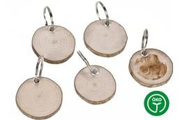 BARK Schlüsselanhänger:   Schlüsselanhänger Rindenscheibe aus Haselnussholz rund mit Schlüsselring und
