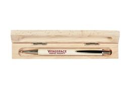 NOUVEAU Schreibset Einzel:   Nachhaltige Werbeartikel-Kugelschreiber aus massivem Birkenholz und blauer M