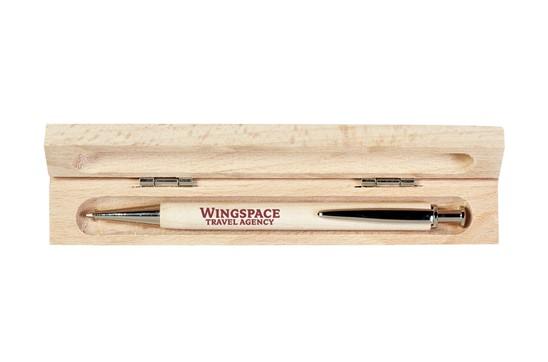 NOUVEAU Schreibset Einzel: Nachhaltige Werbeartikel-Kugelschreiber aus massivem Birkenholz und blauer Mine