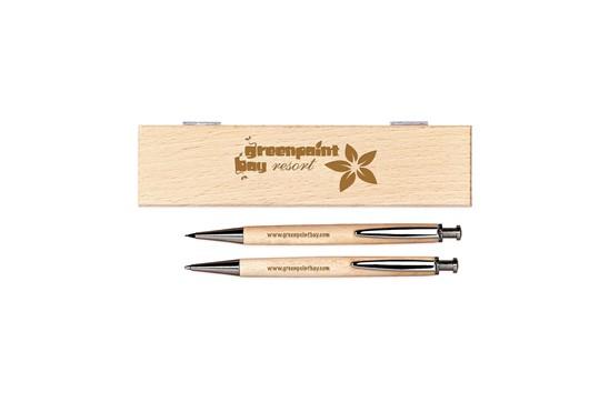 NOUVEAU Schreibset: Hölzernes Geschenkset aus massivem Birkenholz mit einem Kugelschreiber (blaue Mi