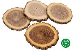 ACACIA Glasuntersetzer, Vintage: Holz Rindenscheibe aus europäischem Akazienholz 10 - 12 cm und 10mm stark, beids