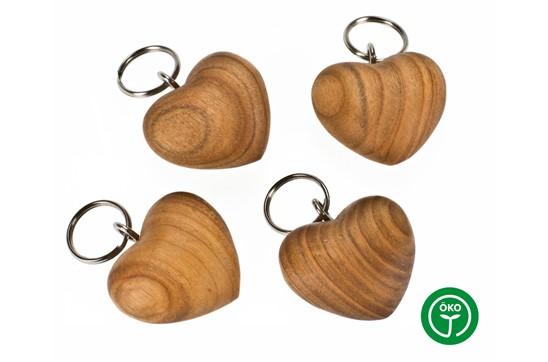 CHERRY Heart Schlüsselanhänger: Schlüsselanhänger aus Kirschholz geölt in Herzform - Handschmeichler. Made in Ge