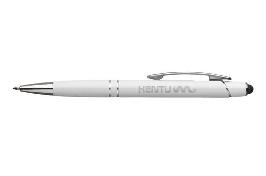 Arizona Touchpen: Kugelschreiber aus Aluminium mit blauer Mine und mit griffestem Vorderteil, silb