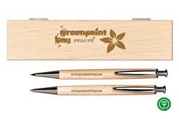 -10% AKTION!!! Bis 27.03.2020 - NOUVEAU Schreibset:   Hölzernes Geschenkset aus massivem Birkenholz mit einem Kugelschreiber (blau