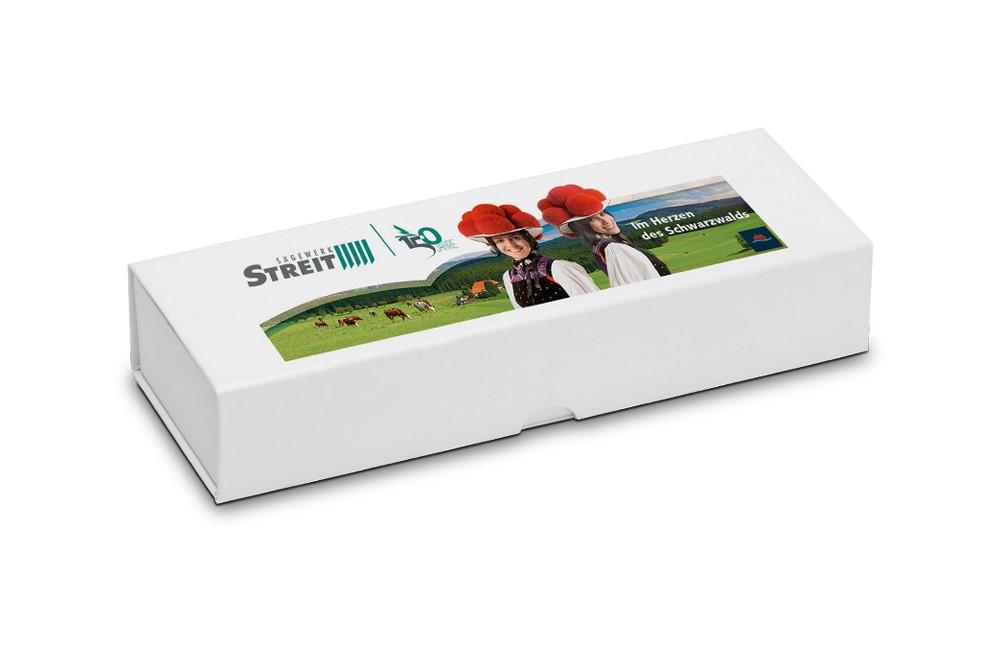 Etui Magnet für 1 Schreibgerät: Klappetui mit Magnetverschluss für 1 Schreibgerät. Kartonschuber ebenfalls wie d