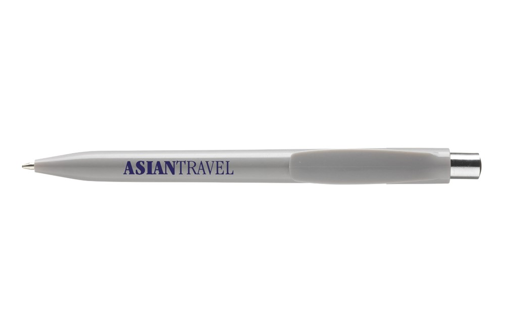 Dotty Kugelschreiber: Kugelschreiber mit Farbakzenten im silberfarbenen Druckknopf, blauschreibend.