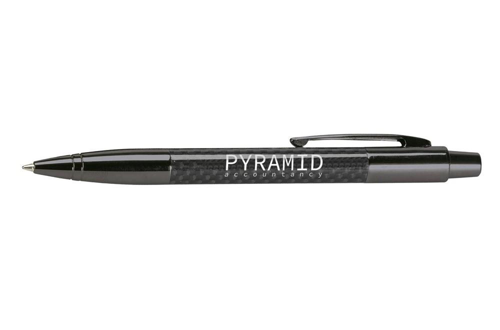 TEN Kugelschreiber:   Blauschreibender Designkugelschreiber mit Gehäuse aus Carbon, Clip, Spitze,