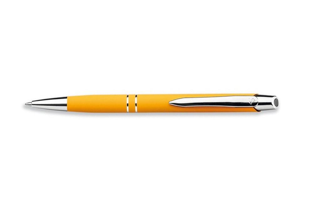 Maribor Kugelschreiber: Metallkugelschreiber mit blauer Füllung und Oberfläche mit weichem Gummi.
