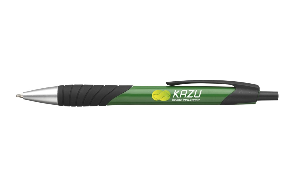 Timmy Kugelschreiber: Blauschreibernder Kugelschreiber mit hochglänzendem Gehäuse, grifffestem, gummie