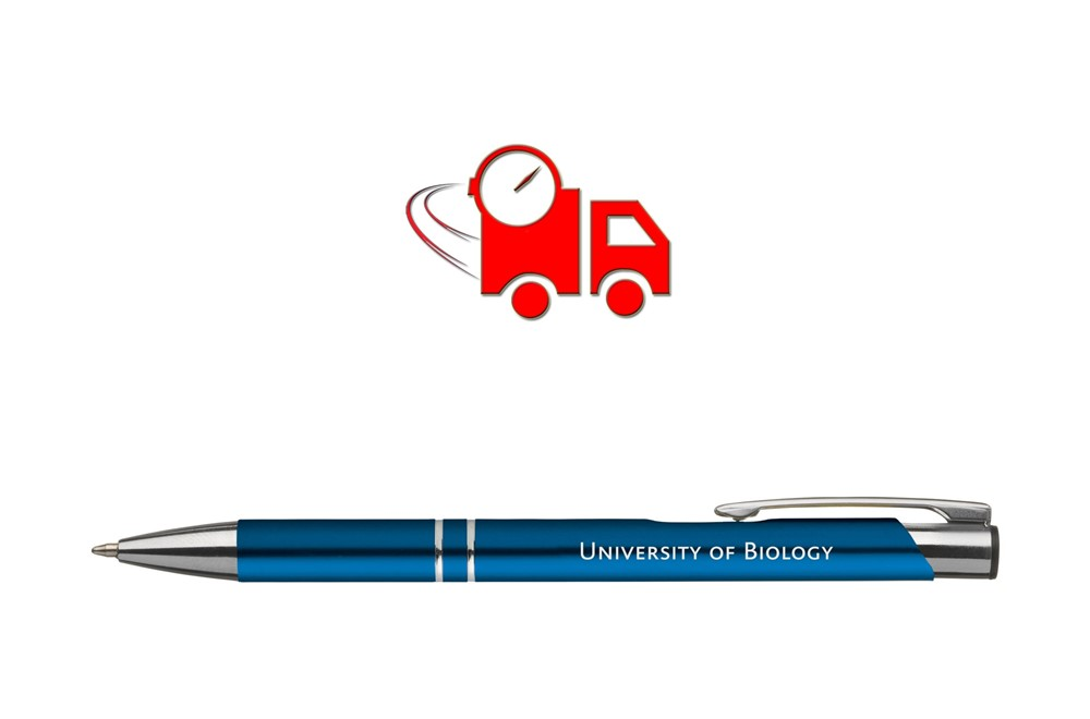 T-LITE matt blauschreibend EXPRESSVEREDELUNG Lieferung in 4 Tagen: Kugelschreiber mit blauschreibender Jumbofüllung, mit silberfabigen Akzenten und