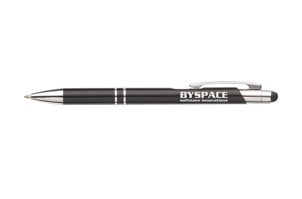 TARAS TOUCH Kugelschreiber: Blauschreibender Kugelschreiber mit Aluminiumgehäuse, gummierte Spitze zum Bedie
