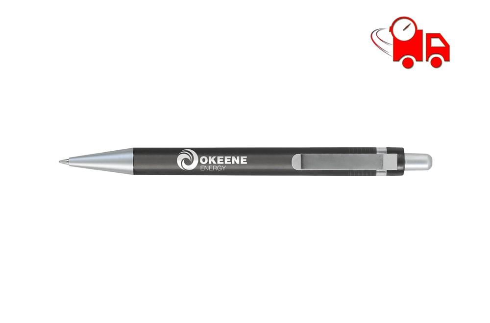 TAI Speed Kugelschreiber transparent EXPRESSVEREDELUNG Lieferung in 4 Tagen: Blauschreibender Kugelschreiber mit transparentfarbenem Gehäuse und Clip aus Mat