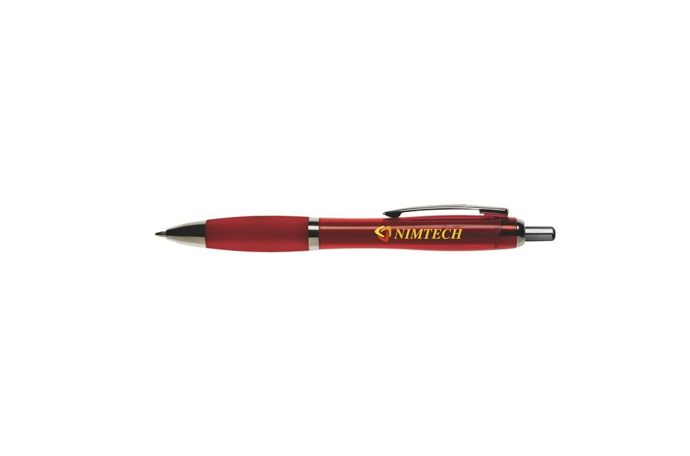 Tos Kugelschreiber: Kugelschreiber mit transparentfarbener Gehäuse, grifffestem Vorderteil und Metal