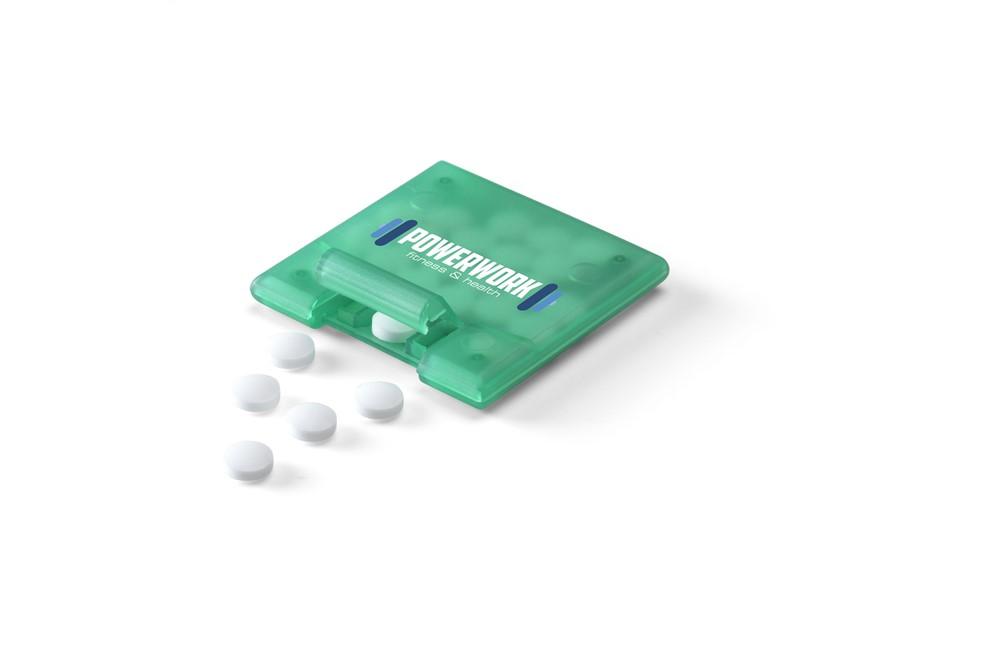 QuadMint: Quadratischer Spender gefüllt mit etwa 4 g (23 Stück) zuckerfreien Pfefferminz.