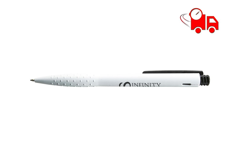 TOVO Speed Kugelschreiber schwarzschreibend EXPRESSVEREDELUNG Liefeung in 4 Tagen: Schwarzschreibender Kugelschreiber mit grifffestem Vorderteil, farbigem Clip und