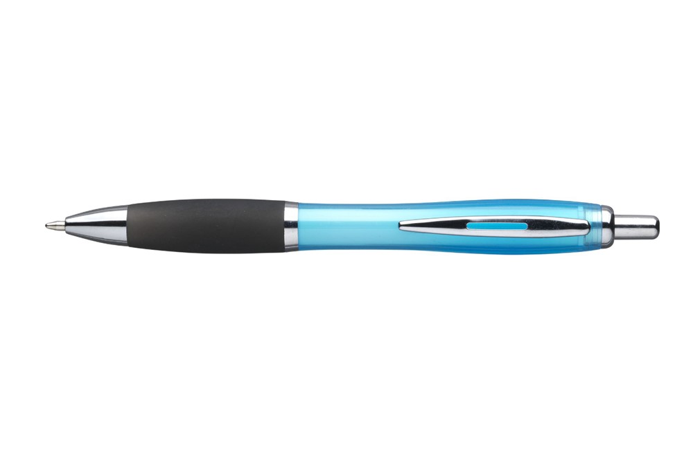 Tos BlackGrip Kugelschreiber: Blauschreibender Kugelschreiber mit transparentem Halter, schwarzem, griffigem V