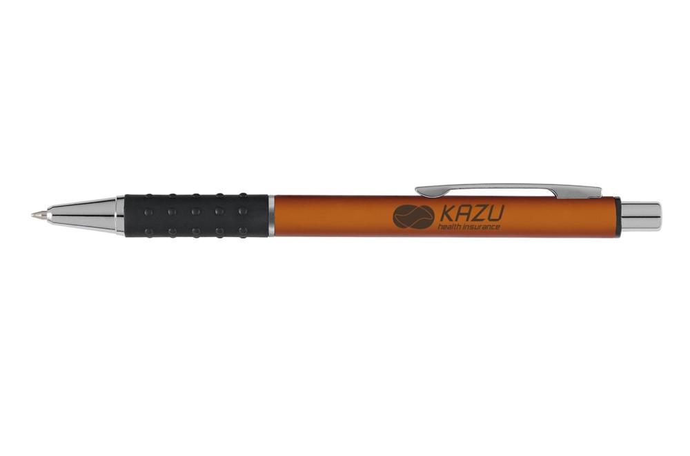 Slimmy Kugelschreiber: Blauschreibender Kugelschreiber mit superschlankem Gehäuse im Metallic-Look, gri