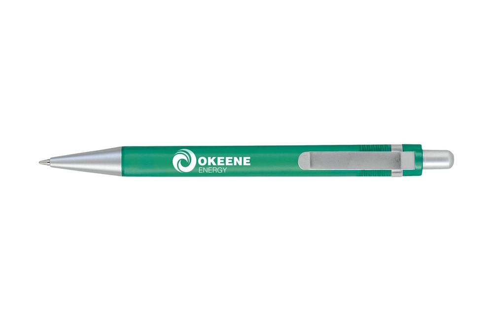 Bosttrans Kugelschreiber: Kugelschreiber mit grifffestem, gummiertem Vorderteil, solidem, farbigem Clip un
