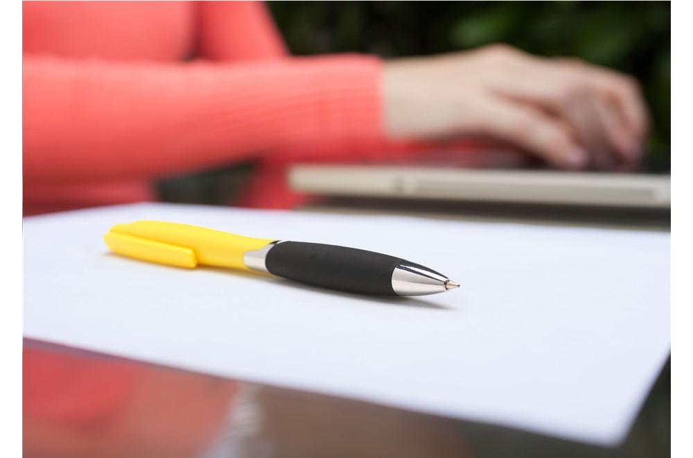 Logy Kugelschreiber: Stilvoller, blauschreibender Kugelschreiber mit griffestem Vorderteil, Clip/Druc