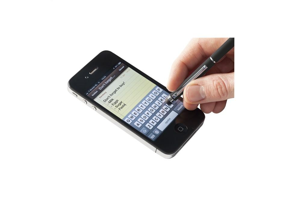 Slider Touchpen: Dreh-Klicksystem Metallkugelschreiber mit blauer Mine und einem gummiertem Point