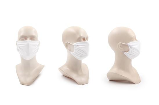 MNS Maske für Kinder in weiss, Made in EU: Wiederverwendbarer Mund und Nasenschutz für Kinder aus Mikrofaser 220g/m2, 60 °