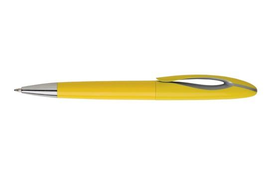 Luno Kugelschreiber: Blauschreibender Kugelschreiber mit einem schicken Clip mit auffallendem grauen