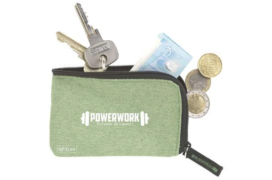 RFID KeyHolder: Polyester RFID Schlüsseletui mit Nylon Innenseite. Mit Reissverschluss, Schlüsse