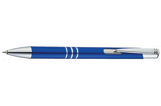 Kugelschreiber Fokus:   Kugelschreiber aus Aluminium mit blauer Großraummine, 3 silbernen Zierringen