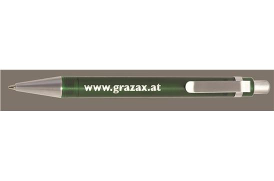 ARTIC Frost Plastic: Klassischer Kugelschreiber mit leicht transparentem Kunststoff-Schaft und flache