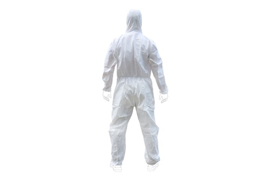 Einwegschutzanzug, PSA KAT III, Weiß: Einwegschutzanzug zum Schutz vor chemischen Gefahren. Nicht wiederverwendbar, od