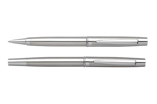 Orleans Schreibset: Stylishes Schreibset: Kugelschreiber mit Drehklicksystem und Fineliner mit schne